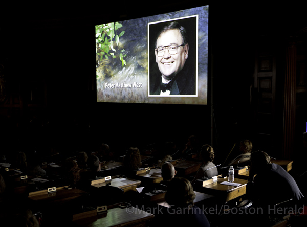 Peter Matthew West's image was projected, along with the other Massachusetts' victims.